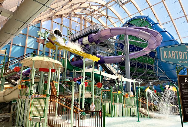 The Kartrite indoor water park, located in the Catskills, is home to 80,000 square feet of rides, slides, and pools. Photo courtesy of the Kartrite