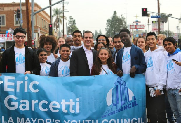 Mayor Garcetti with the Youth Council celebrating the life and legacy of Martin Luther King Jr. at the 2016 Kingdom Day Parade. Photo courtesy of Eric Garcetti