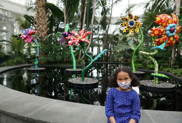 girl  at kusama exhibit at nybg My Soul Blooms Forever
