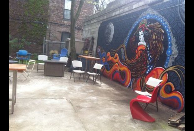 The lovely backyard at LaunchPad, a community center with kids' programs