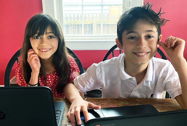 Set the kids up with their Chromebook, or another device, for online lessons.