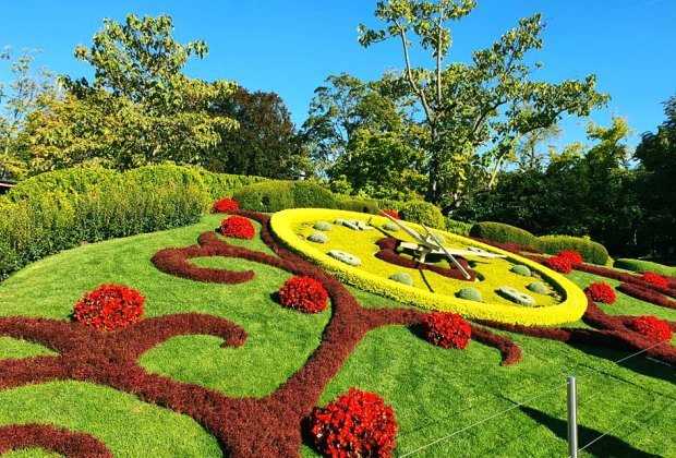 The L'horloge fleurie, or the flower clock, was created in 1955 as a symbol of the city's watchmakers. Photo courtesy of Geneva Tourism