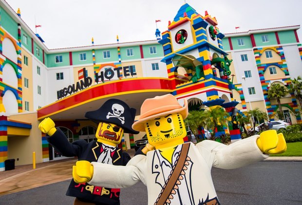Exterior shot of Legoland New York Hotel with Mini-Figures in the foreground