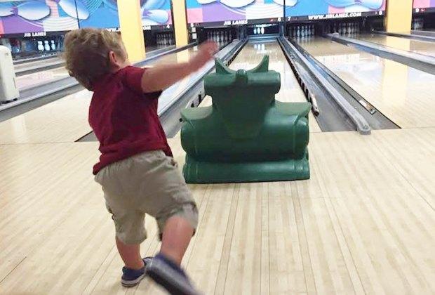 Maple Lanes RVC Long Island Bowling Alleys Boy bowling