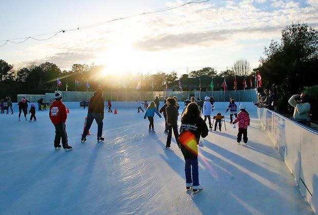 Buckskill Winter Club ice skating rink at dusk