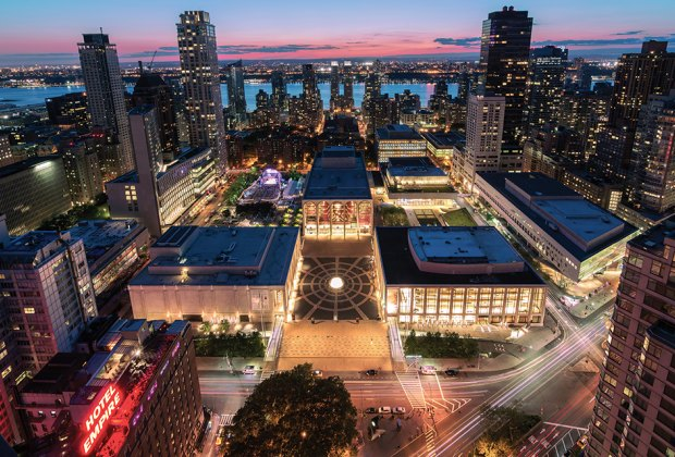 aerial Lincoln Center restart stages