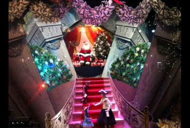 Traditional holiday images and early 20th-century glamour intermingle in Lord & Taylor's windows