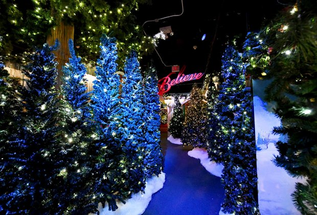 Twinkling trees line a path in Macy's Santaland Village