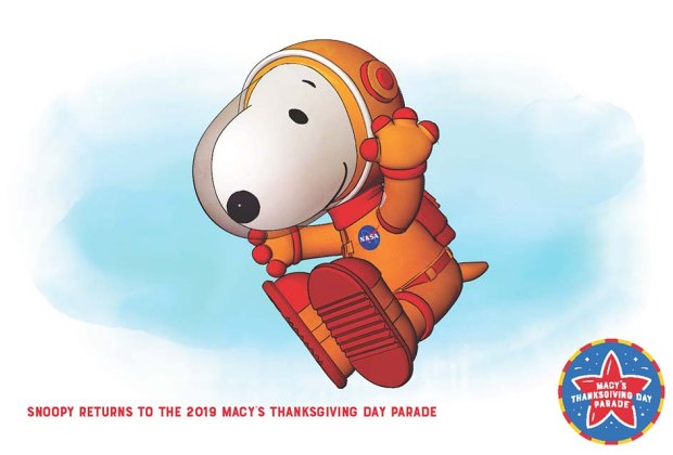 Snoopy makes his 40th appearance at the  Macy's Thanksgiving Day Parade as an Apollo astronaut.