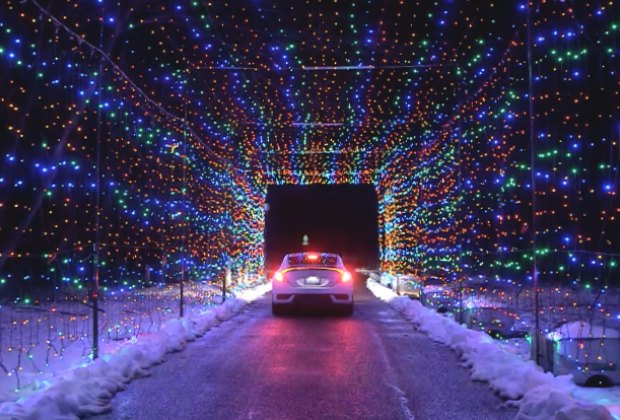 christmas lights drive through long