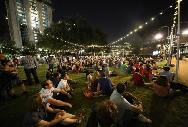 Live music on the lawn during A Night at Market Square/Photo courtesy of  Houston Downtown District