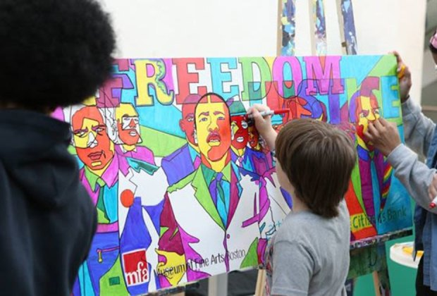 At MLK Day at MFA last year, interactive artwork was designed by Artists For Humanity. Photo courtesy of Helene Norton Russell via Museum of Fine Arts, Boston