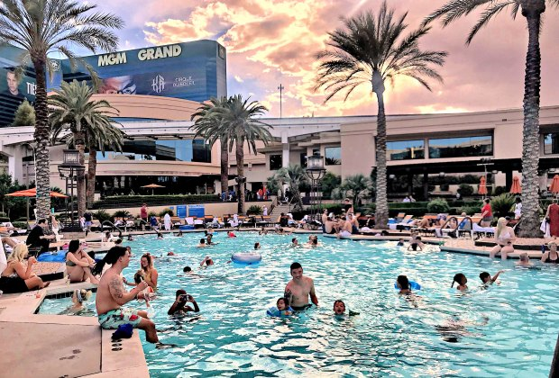 A fab hotel pool like this one at the MGM Grand can keep kiddos busy for hours! Photo by Lindsay Li
