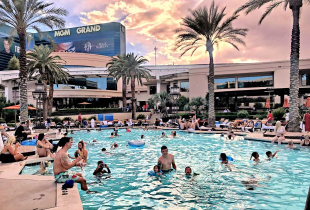 There's no shortage of hotel pools in Vegas. Photo by Lindsay Li