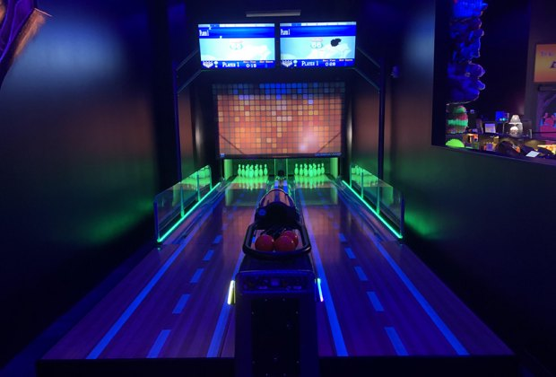 glow in the dark bowling lanes at Monster Mini Golf. westchester bowling