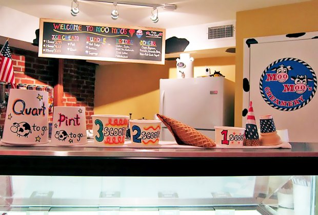 Order a scoop at Moo Moo's Creamery