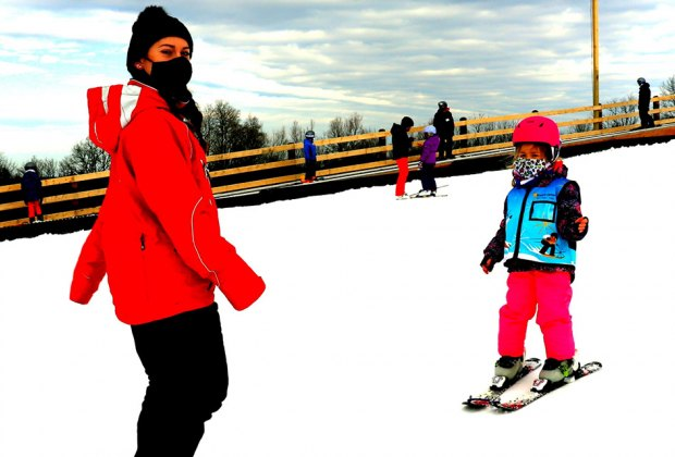 Mount Peter child in ski lesson Family-Friendly Ski Areas Near NYC For Your Next Winter Getaway