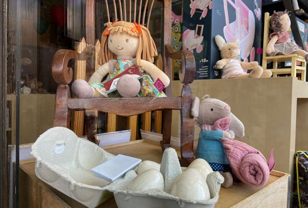 toys in the window at nest egg kids