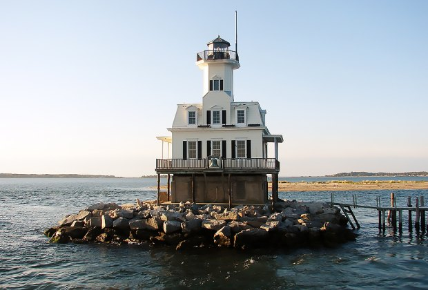 """""""Bug Light,"""" near Greenport, is one of only a few offshore lighthouses to allow visitors. Photo courtesy of the East End Seaport Museum."""