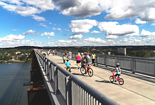 Walk, bike, scoot, or blade across the Walkway Over the Hudson in Poughkeepsie. Photo by Fred Schaeffer