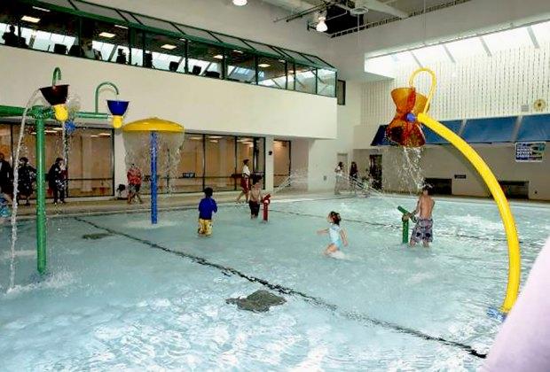 Splash and play at the indoor pool at the North Hempstead Aquatics Center