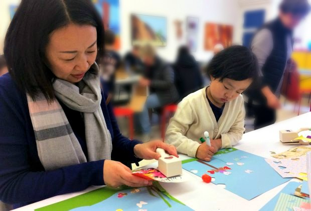 Parent + Child workshops are a fun way to bond. Photo courtesy of Brookline Arts Center