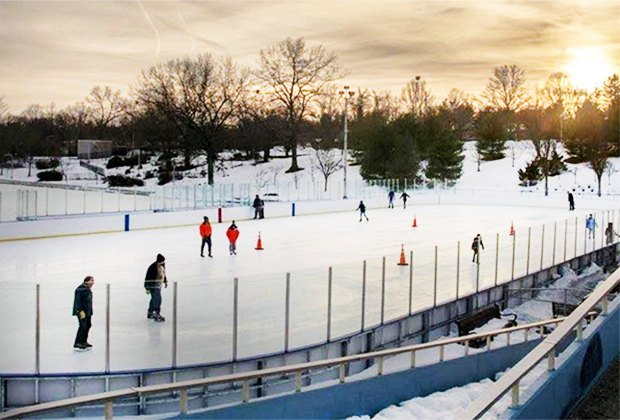 Christopher Morely Park ice skating rink at sunset