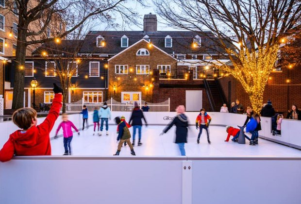 Glide on the faux ice in Princeton