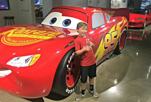 See Lightning McQueen from the movie Cars at the Petersen Automotive Museum. Photo by Mommy Poppins