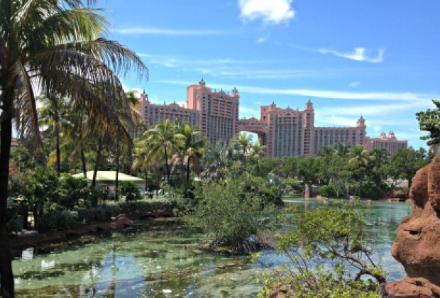 The iconic Royal Towers of Atlantis Paradise Island dominate the landscape.