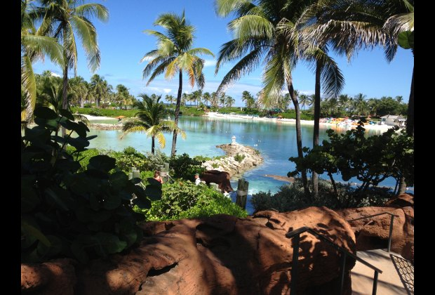 One of the many picturesque lagoons at Atlantis Paradise Island.