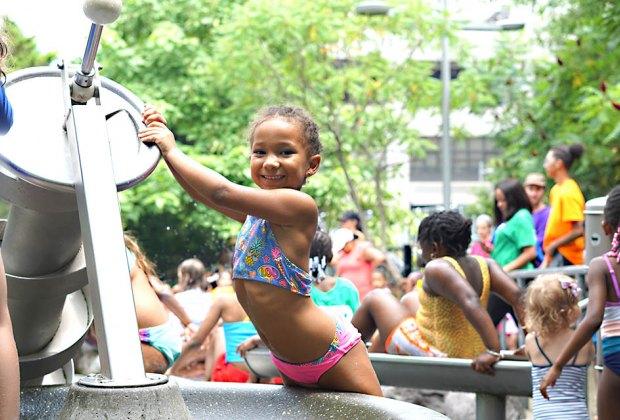 Little girl at Pier 6 sprayground