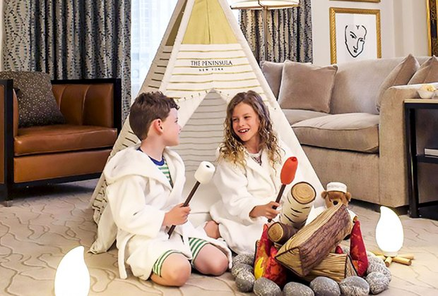 Kids will love the indoor faux campout at The Peninsula.