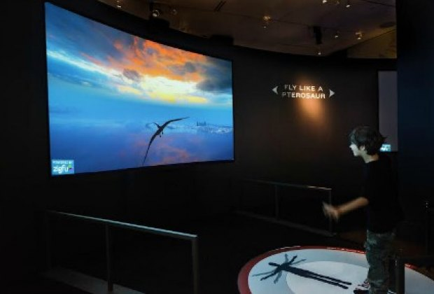 Learn to (virtually) Fly Like a Pterosaur in the Flight Lab, one of the exhibit's major highlights; ©AMNH/D. Finnin