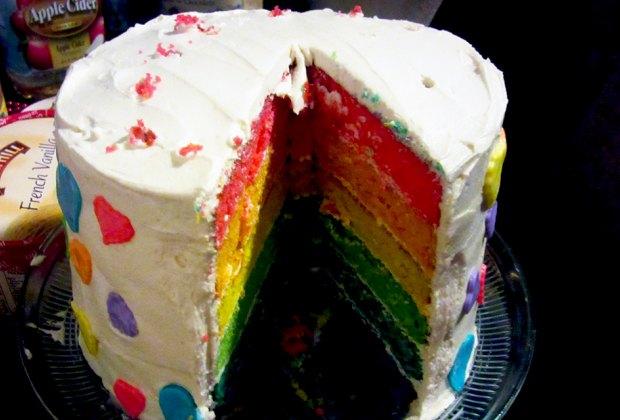 Birthday Cake Ideas for a Kids' Birthday Party: Tye-dye or rainbow dye your cake