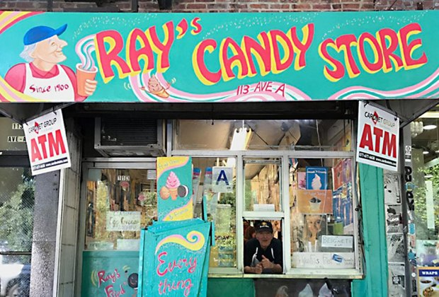 The facade of Ray's Candy Store bears the likeness of its owner