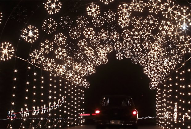 Town of Riverhead Holiday Light Show's spectacular snowflake tunnel
