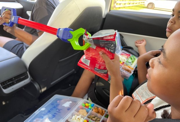 kids using a grabber in the car