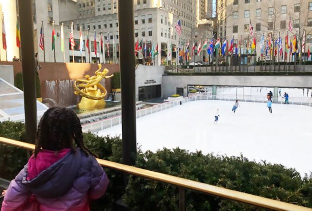 Even watching the ice skaters at the Rockefeller Center Rink is entertaining
