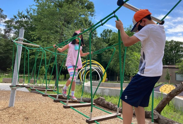 Houston Arboretum Playscape balancing bridge