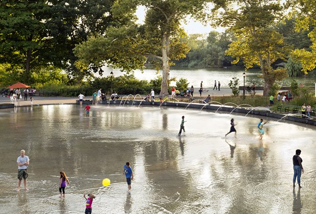 Cool off at the monumental splash pad at LeFrak Center in Prospect Park. Photo by Michael Moran for the Prospect Park Alliance