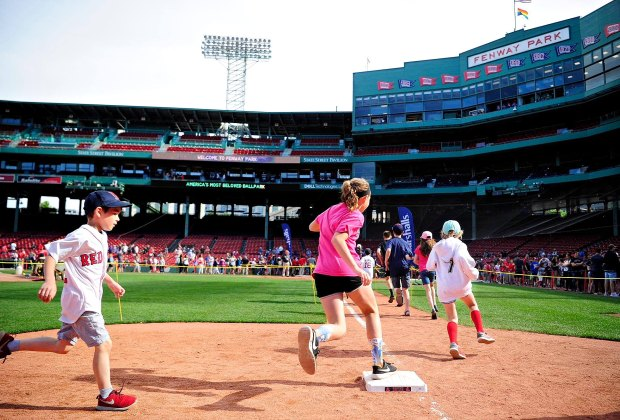 Kids can run the bases on select days at Fenway Park. Photo courtesy of the Boston Red Sox