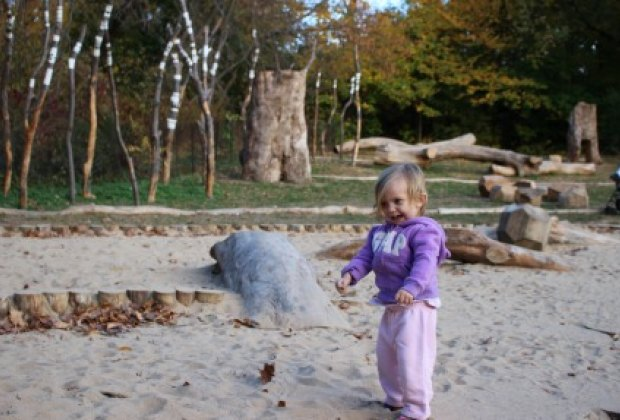 No traditional play equipment here; all of the elements are nature-based, like this sand area...