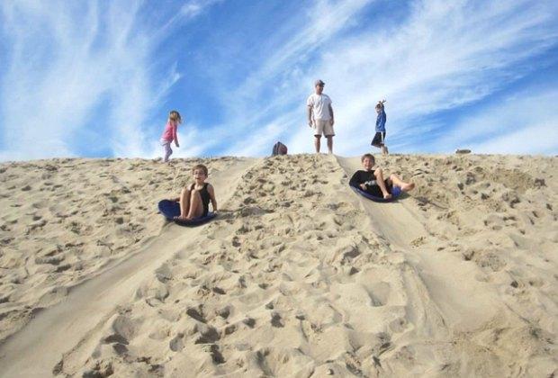 Sand berm sledding by the beach in LA