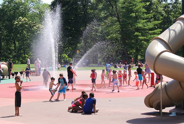 Ponderosa Farm Park has a large water play are set against a backdrop of trees. Photo courtesy of the Scotch Plains Township Recreation Department.