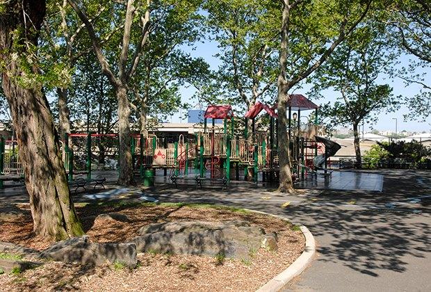 DeWitt Clinton Park's shady playground