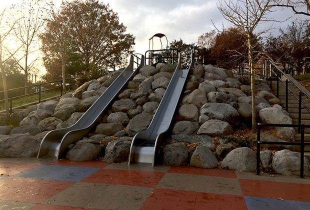 Catch some speed on the massive slides at Lieutenant John H. Martinson Playground.