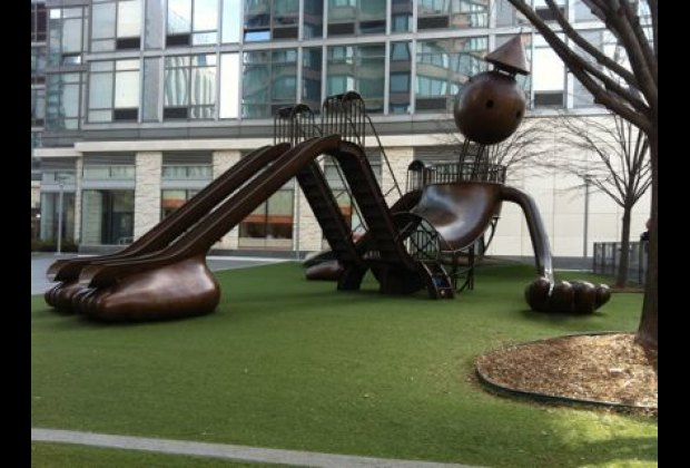 Tom Otterness' whimsical play structure in Silver Towers Playground