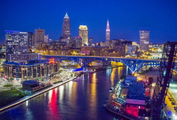 Cleveland at night. Photo courtesy Aerial Agents for ThisIsCleveland.com