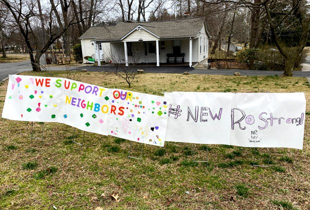 Resolve remains strong in New Rochelle where the Girl Scouts created this neighborly sign. Photo by the author